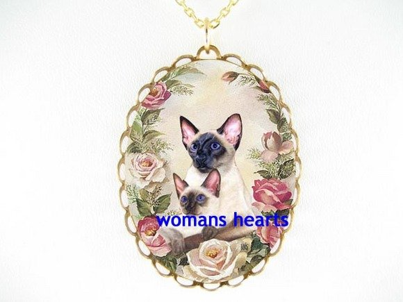 2 SIAMESE CAT MOM CUDDLE KITTY ROSE PORCELAIN NECKLACE