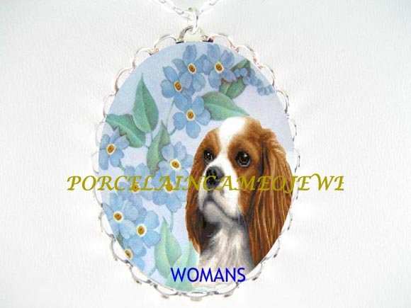 CAVALIER King Charles Spaniel FORGET ME NOT NECKLACE