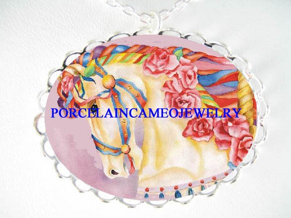 PINK ROSE CAROUSEL HORSE PORCELAIN CAMEO NECKLACE