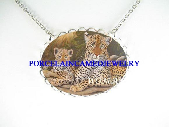 LEOPARD WILD CAT MOM BABY CUB CAMEO PORCELAIN NECKLACE