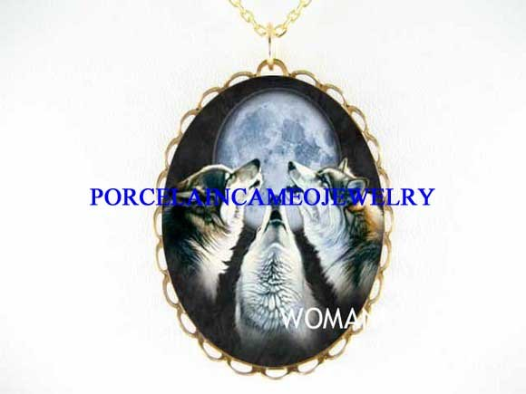 3 BLUE WOLF HOWLING MOON PORCELAIN CAMEO NECKLACE