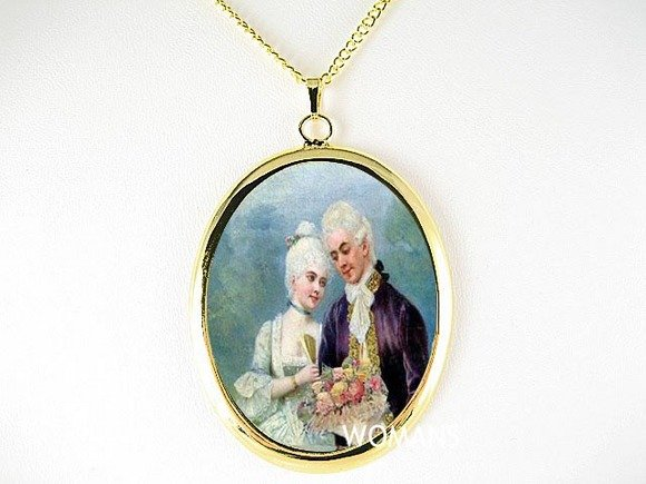 VICTORIAN COURTING COUPLE ROSE CAMEO PORCELAIN NECKLACE