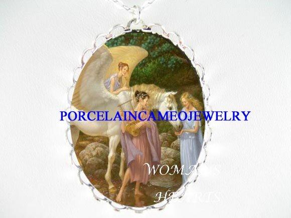 3 ANGEL GREEK GODDESS PEGASUS CAMEO PORCELAIN NECKLACE