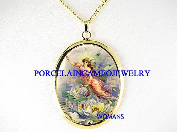 VICTORIAN LOTUS WATER LILY FAIRY PORCELAIN NECKLACE