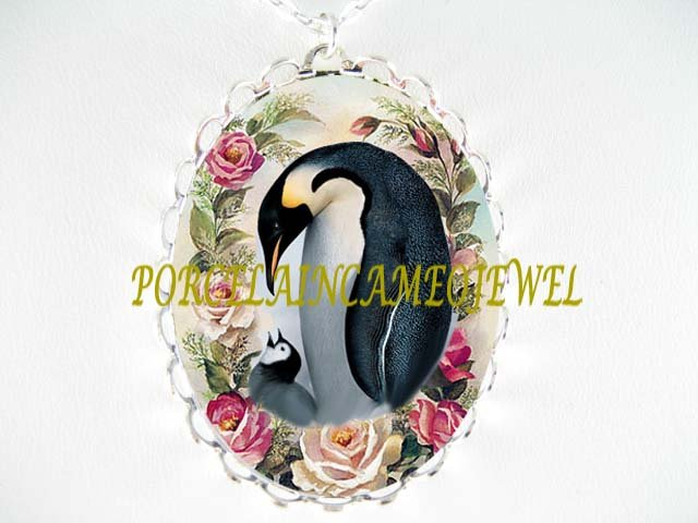 PENGUIN MOM KISSING BABY ROSE PORCELAIN CAMEO NECKLACE