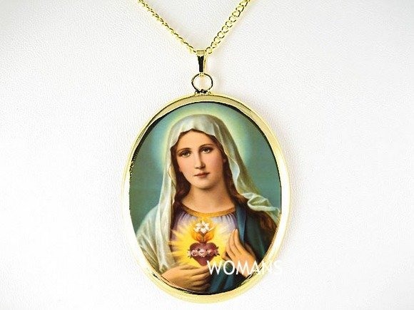 VIRGIN MARY SCARED HEART ROSE PORCELAIN CAMEO NECKLACE