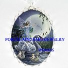 SWAN FAIRY MOM BABY FAMILY CAMEO PORCELAIN NECKLACE