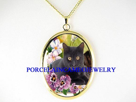 BLACK CAT WITH PASNY PORCELAIN CAMEO PENDANT NECKLACE