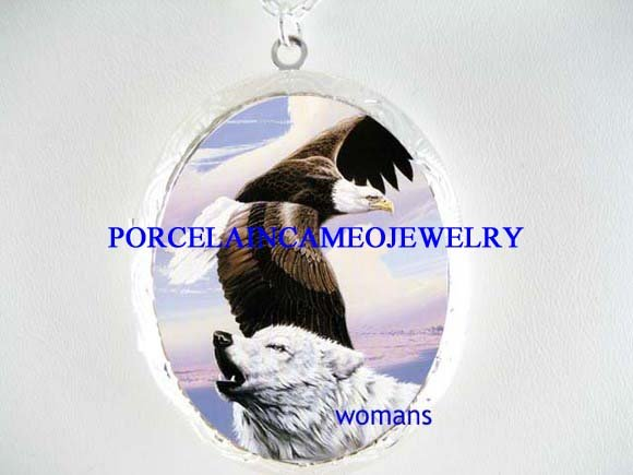 GREY WHITE WOLF AMERICAN EAGLE PORCELAIN CAMEO LOCKET