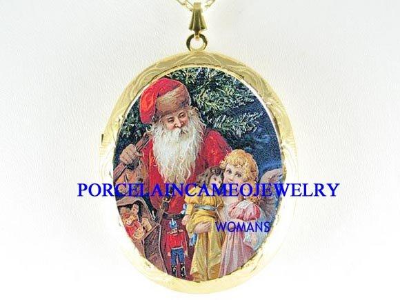 VICTORIAN SANTA WITH ANGEL DOLL PORCELAIN CAMEO LOCKET