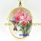 HUMMINGBIRD ORCHID CAMEO PORCELAIN LOCKET NECKLACE