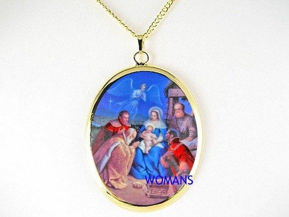 CHRISTMAS ANGEL NATIVITY MANGER CHRISTIAN CAMEO NECKLACE