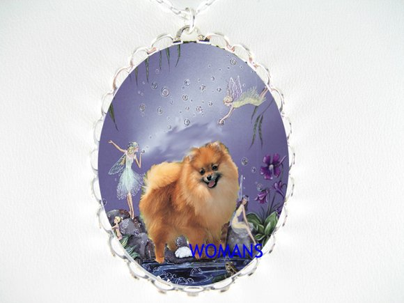 POMERANIAN PLAY BUBBLE FAIRY CAMEO PORCELAIN NECKLACE
