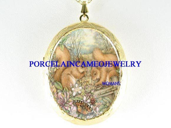 2 SQUIRREL BUTTERFLY PORCELAIN CAMEO LOCKET NECKLACE