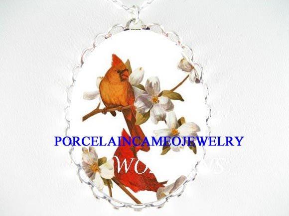 2 CARDINAL couple BIRD DOGWOOD CAMEO PORCELAIN NECKLACE