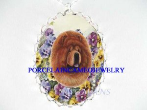 CHOW CHOW DOG SPRING PANSY PORCELAIN CAMEO NECKLACE