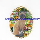 SIAMESE CAT PANSY CAMEO PORCELAIN PENDANT PIN BROOCH