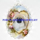 PEKINGESE DOG ROSE HEART PORCELAIN CAMEO NECKLACE
