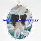 PAPILLON DOG CALLA LILY BUTTERFLY PORCELAIN NECKLACE
