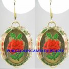 VINTAGE RED ROSE CAMEO LIGHT WEIGHT EARRINGS 13X18MMM
