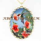 2 HUMMINGBIRD WITH POPPY PORCELAIN CAMEO NECKLACE