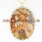 ALPHONSE MUCHA LILY FLOWER LADY PORCELAIN CAMEO NECKLACE