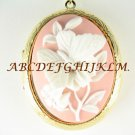 3D CAMEO PINK BUTTERFLY LILY FLOWER LOCKET NECKLACE