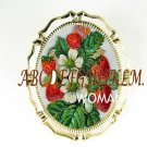 JUICY STRAWBERRY PORCELAIN CAMEO PENDANT PIN BROOCH