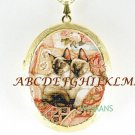 2 SIAMESE CAT CUDDLING PORCELAIN CAMEO LOCKET NECKLACE