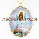 SLEEPING ANGEL 2 SISTER MOON PORCELAIN CAMEO NECKLACE