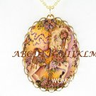 VICTORIAN ROSE CAROUSEL HORSE CAMEO PORCELAIN NECKLACE