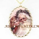 VICTORIAN SANTA WITH GIRL CAMEO PORCELAIN NECKLACE