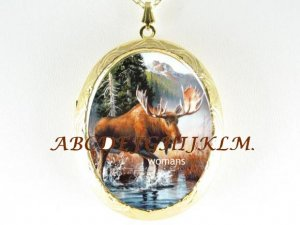 BUCK MOOSE NEAR WATER PORCELAIN CAMEO LOCKET NECKLACE
