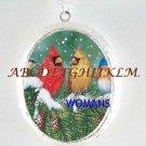 2 CARDINAL BIRD PINETREE SNOW PORCELAIN CAMEO LOCKET NECKLACE