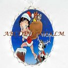CHRESTMAS BETTY BOOP SANTA CAT CAMEO PORCELAIN NECKLACE