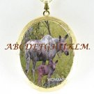 MOOSE MOM AND BABY PORCELAIN CAMEO LOCKET NECKLACE