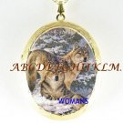 2 GREY WOLF CUDDLE SNOW PORCELAIN CAMEO LOCKET NECKLACE