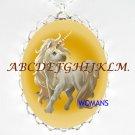 BABY GOLDEN UNICORN HORSE CAMEO PORCELAIN NECKLACE
