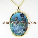 VICTORIAN ERA COURTING COUPLE CAMEO PORCELAIN NECKLACE-18