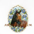 BARBARO HORSE FORGET ME NOT CAMEO PORCELAIN PENDANT PIN BROOCH