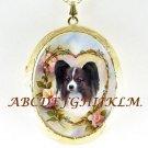 PAPILLON DOG ROSE HEART PORCELAIN CAMEO LOCKET NECKLACE