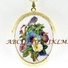 VICTORIAN MORNING GLORY FLOWER CAMEO PORCELAIN LOCKET