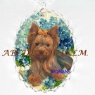YORKSHIRE TERRIER DOG FORGET ME NOT CAMEONECKLACE