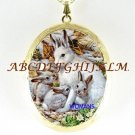 RABBIT MOM BABY DAISY PORCELAIN CAMEO LOCKET NECKLACE