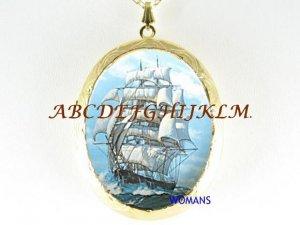 ANTIQUE CLIPPER SHIP CAMEO PORCELAIN LOCKET NECKLACE