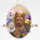YORKSHIRE TERRIER DOG PANSY CAMEO PORCELAIN NECKLACE