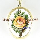 VICTORIAN LILY OF THE VALLEY ROSE CAMEO LOCKET NECKLACE