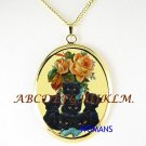 BLACK KITTY CAT VICTORIAN ROSE PORCELAIN CAMEO NECKLACE
