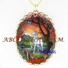 UNICORN HORSE BUTTERFLY ROSE CAMEO PORCELAIN NECKLACE
