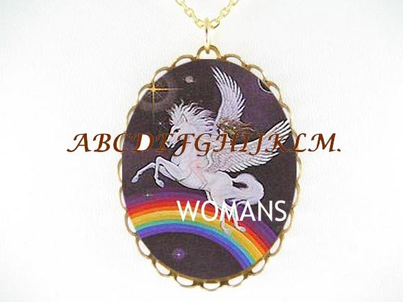 PEGASUS HORSE RAINBOW* CAMEO PORCELAIN NECKLACE